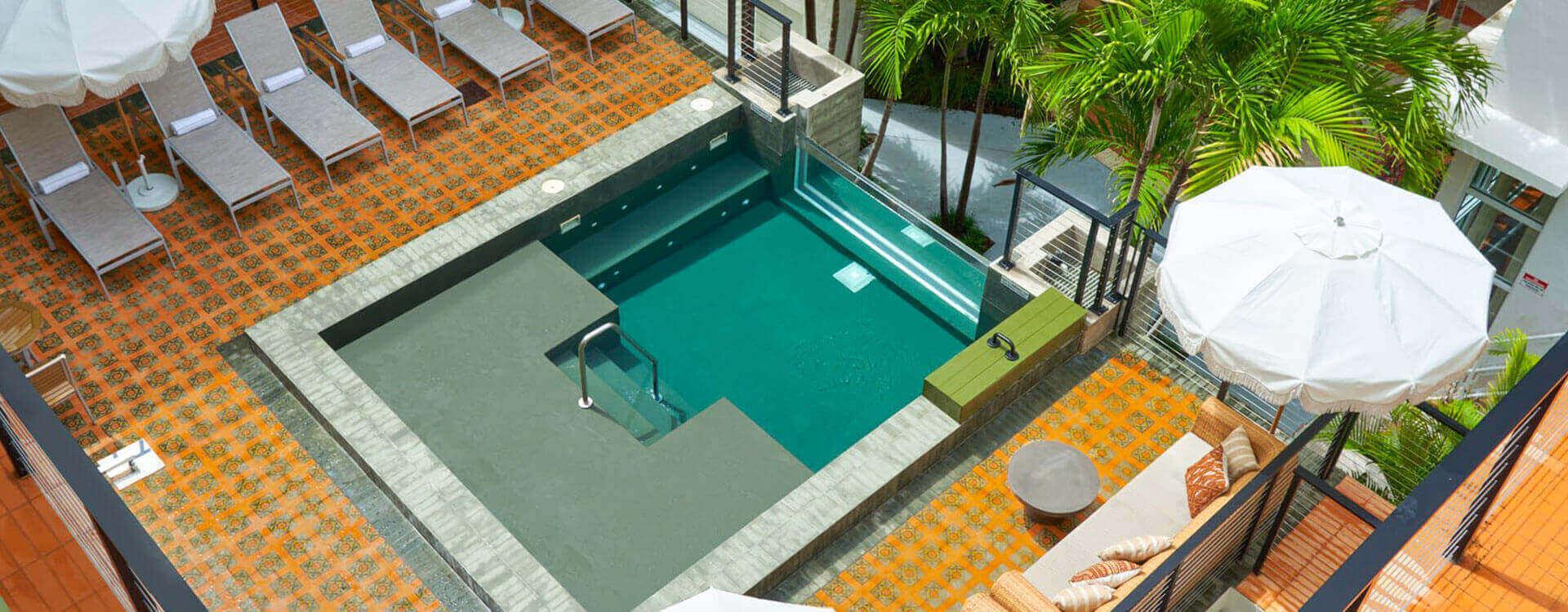 Pool at Balfour Hotel, Miami beach